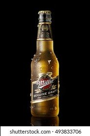POLTAVA, UKRAINE, OCTOBER 05, 2016:Miller Genuine Draft is the original cold filtered packaged draft beer, a product of the Miller Brewing Company owned by SABMiller.