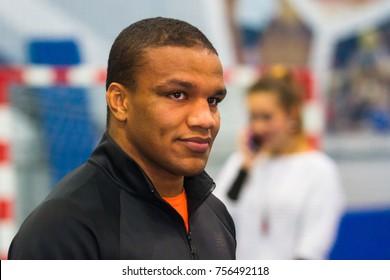"POLTAVA, UKRAINE – OCTOBER 16, 2017: Ukrainian Greco-Roman wrestler Zhan Beleniuk during a sports master class for youth in the sports complex ""Dynamo"" in Poltava, Ukraine."