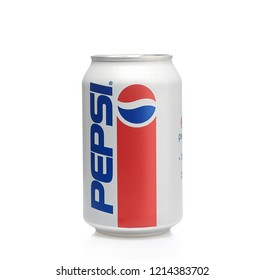 POLTAVA, UKRAINE - OCTOBER 28, 2018:  Aluminium can Pepsi cola 1940s limited edition redesign on white background, produced by PepsiCo Inc.