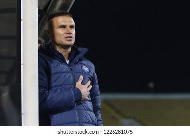 POLTAVA, UKRAINE - October 28, 2018: Ukrainian professional footballer and manager Vyacheslav Shevchuk during the match of the Ukrainian championship Vorskla - FC Olimpik Donetsk