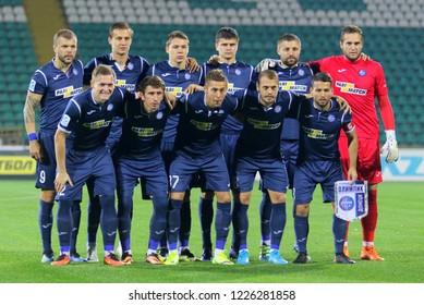 POLTAVA, UKRAINE - October 28, 2018: Footballers FC Olimpik Donetsk during the match of the Ukrainian championship Vorskla - FC Olimpik Donetsk