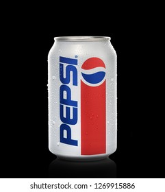 POLTAVA, UKRAINE - OCTOBER 28, 2018:  Aluminium can Pepsi cola 1940s limited edition redesign on black background, produced by PepsiCo Inc.