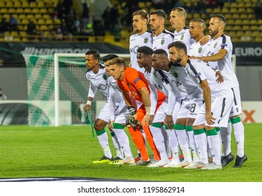POLTAVA, UKRAINE - OCTOBER 3, 2018: The soccer players' photo is Sporting during the match of the UEFA Europa League Vorskla - Sporting at the Vorskla stadium