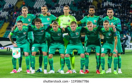 POLTAVA, UKRAINE - OCTOBER 3, 2018: A joint photo of Footballers FC Vorskla during the match of the UEFA Europa League Vorskla - Sporting at the Vorskla stadium