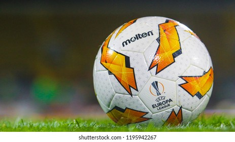POLTAVA, UKRAINE - OCTOBER 3, 2018: Official UEFA Europa League during the match of the UEFA Europa League Vorskla - Sporting at the Vorskla stadium