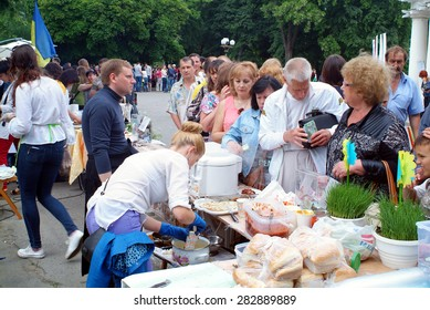 POLTAVA, UKRAINE, on MAY, 31 2015: the habitants of Poltava conducted an eleemosynary fair in support the fighters of anti-terror operation. This measure took place fourth time.