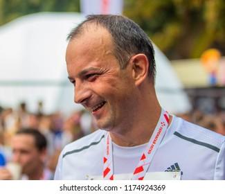 POLTAVA, UKRAINE - SEPTEMBER 2, 2018:  Ukrainian politician and former journalist  Yehor Soboliev during the Poltava Nova Poshta semi-marathon at the Theater Square