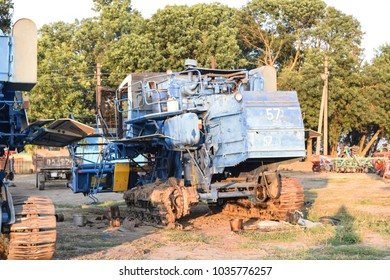 Poltavskaya village, Russia - September 6 2017: Combine harvesters Agricultural machinery