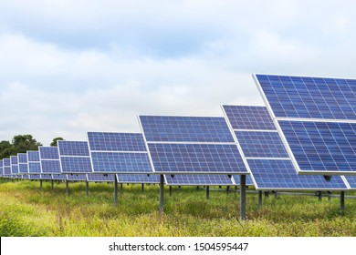 Poly crystalline silicon solar cells or photovoltaics cell in solar plant station convert light energy from the sun into electricity alternative renewable energy efficiency from the sun