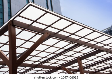 Polycarbonate Roofing use for house decoration, car park lot or out door walk way path, transparent roof with wooden and brown steel structure