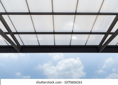 Polycarbonate Roofing use for house decoration, car park lot or out door walk way path, transparent roof with black steel structure