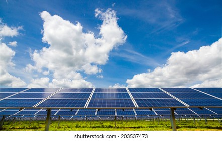 Polycrystalline photovoltaic modules on the background of cloudy sky