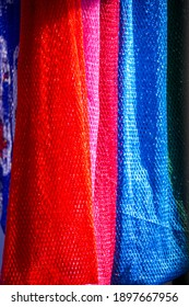 Polyester Fabric colorful on background.