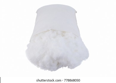 Polyester fiber  in pillow isolated on white background