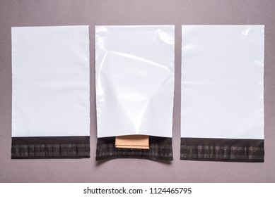 polyethylene envelope on grey background