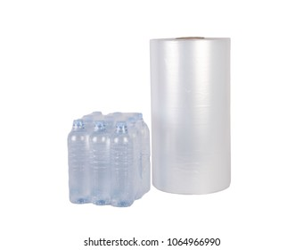 polyethylene film bottle pack isolated on white background. Industrial film for packaging
