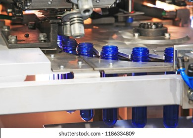 Polyethylene terephthalate, PET, preforms pre-heated before a blowing of plastic bottles