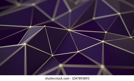 Polygonal background, gold grid, 3d illustration, futuristic concept