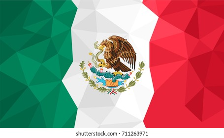 Polygonal background of Mexico flag.  Mexican flag triangle concept pattern. Independence day of Mexico concept illustration.