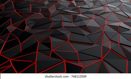 Polygonal black low-poly background with red illuminate, 3d illustration