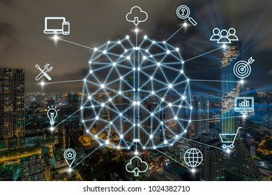 Polygonal brain shape of an artificial intelligence with various icon of smart city Internet of Things Technology over the cityscape background, AI and business IOT concept