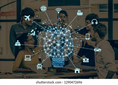 Polygonal brain shape of an artificial intelligence with various icon of smart city Internet of Things Technology over Group Of Multiethnic people brainstorming together, AI and business IOT concept