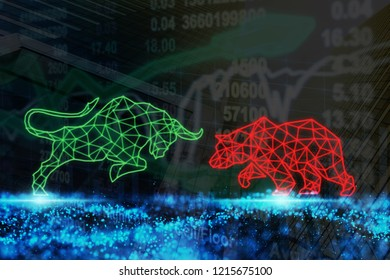 polygonal bull and bear shape writing by lines and dots over the Stock market chart with information over the Modern business building glass of skyscrapers, trading and finance investment concept