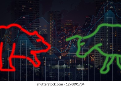 polygonal bull and bear shape writing by lines and dots over the Stock market trading graph over the cityscape background, trading and finance investment concept