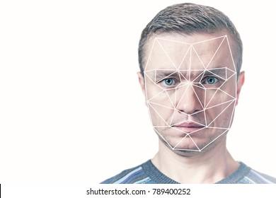 A polygonal face recognition grid located on the face of a man, biometric detection