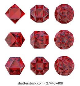 Polygonal geometric jewels. Set of different design elements
