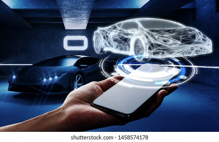 Polygonal hand holding smartphone with car interface hologram on dark garage background. Transport, engineering, future and technology concept. Multiexposure