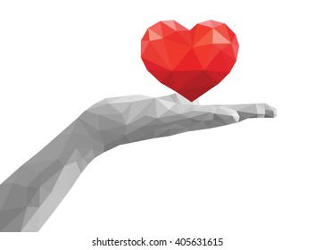 polygonal open hand palm monochrome holding red heart