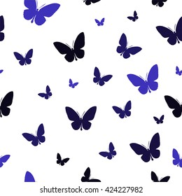 Polygonal pattern with blue butterflies, abstract wallpaper for cover, card, fabric and interior design