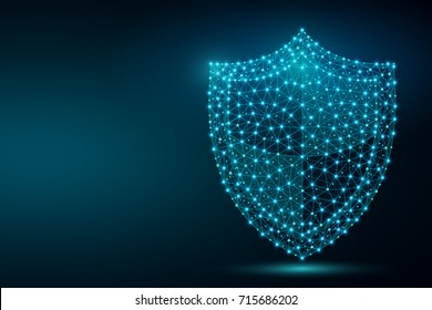Polygonal security shield abstract image, isolated on black background. Business concept of data protection illustration. Low poly wireframe, geometry triangle, lines, dots, polygons, shapes