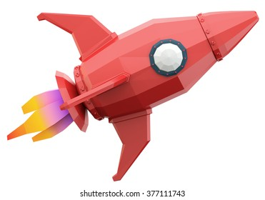 Polygonal space rocket isolated on white background. 3d render