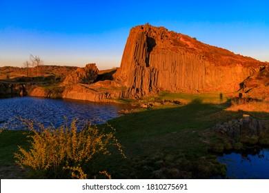 Polygonal structures of basalt columns, natural monument Panska skala near Kamenicky Senov, Czech Republic - Shutterstock ID 1810275691