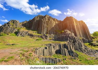 Polygonal structures of basalt columns, natural monument Panska skala near Kamenicky Senov, Czech Republic. Basalt organ pipes of Panska Skala near Kamenicky Senov, Czechia.