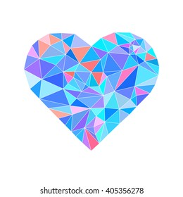 polygonal wireframe heart, valentines day illustration