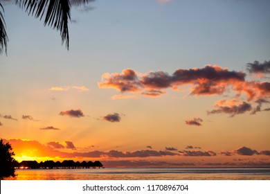 in polynesia bora bora  the sunset in the  coastline and resort like paradise concept and relax