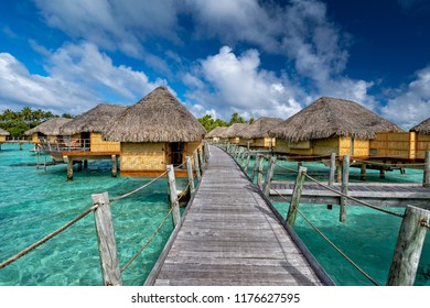polynesia paradise resort overwater bungalow turquoise water
