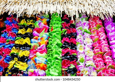 Polynesian Lei garland of flowers in Rarotonga Cook Islands. A lei can be given to someone for: love, honor, or friendship for another person.