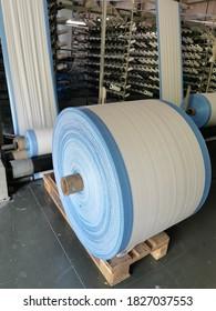 polypropylene woven fabric roll manufacturing on circular loom weaving machine
