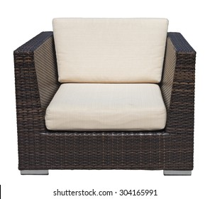 Polyrattan outdoor lounge garden chair isolated on white background