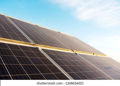 The polysilicon solar power stations in the plate.Green energy concept.