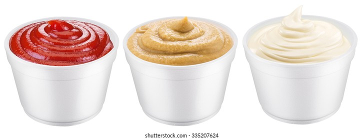 Polystyrene cups with different sauces. File contains three clipping paths.