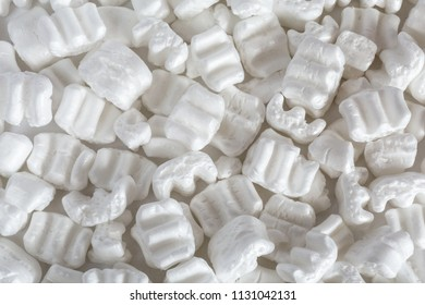 Polystyrene or white styrofoam packing for protection of damage to fragile objects during shipping, macro close up