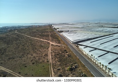 Lot of polythene plastic exterior green houses where produce tomatoes, peppers, cucumbers and zucchinis, along the empty road highway in the Almerimar, province Almeria, Andalucia or Andalusia, Spain