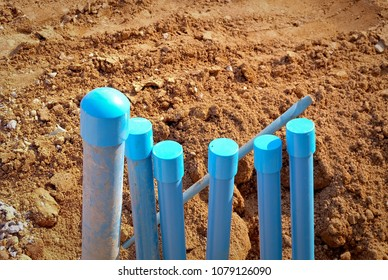 Polyvinyl Chloride or Blue plastic water pipe(pvc) at construction site.