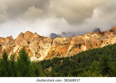 Pomagagnon mountain range from the road to Cortina d'Ampezzo
