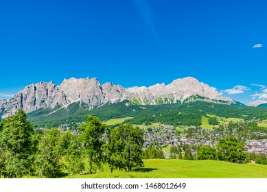 Pomagagnon mountains and Cortina d'Ampezzo in Dolomites, Italy